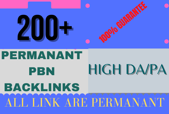 GET 200+parmanent PBN backlink homepage web 2.0 with high DA/PA/TF/CF with unique website