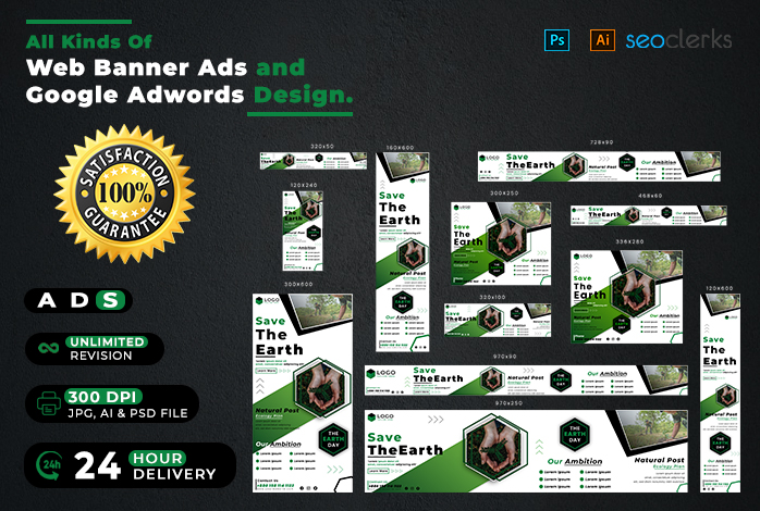 I will do modern web banner ads and google adwords design