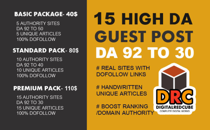 I will write and publish 15 high da guest post da 92 to 30