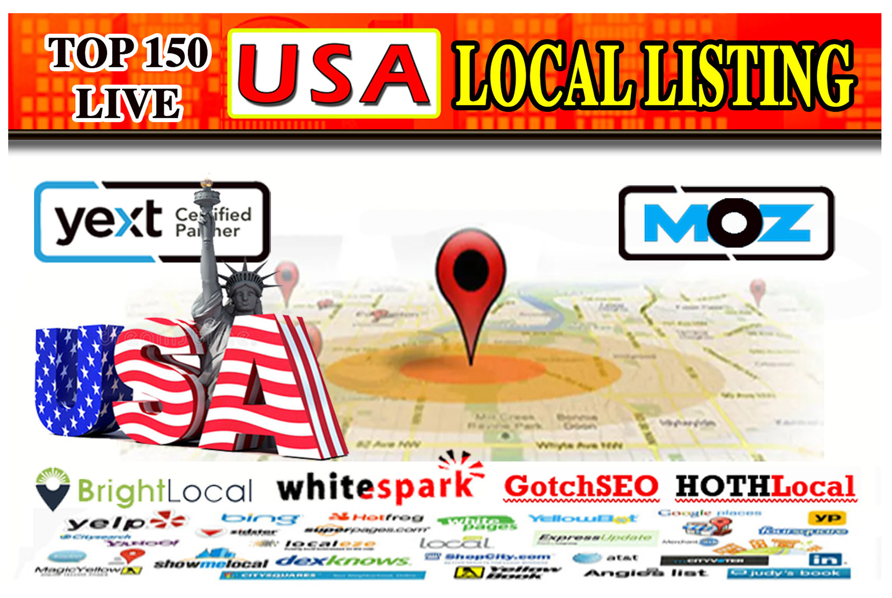 I will do top USA live local listings or local citations for your business