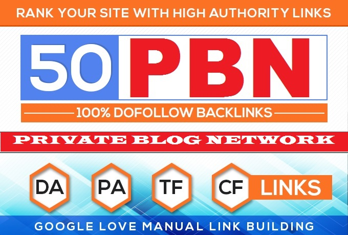 Build 50 HomePage PBN All. COM Domains Backlinks All Dofollow High Quality Backlink