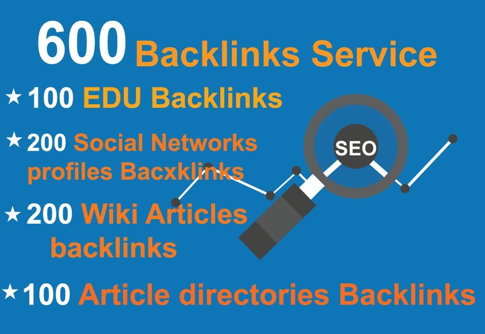 Unique 100 EDU,  200 Social Networks profiles,  200 Wiki articles,  Backlinks
