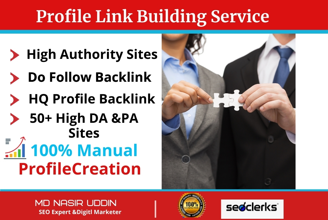 I will build up manually Powerful Unique High Quality 50 profile backlinks