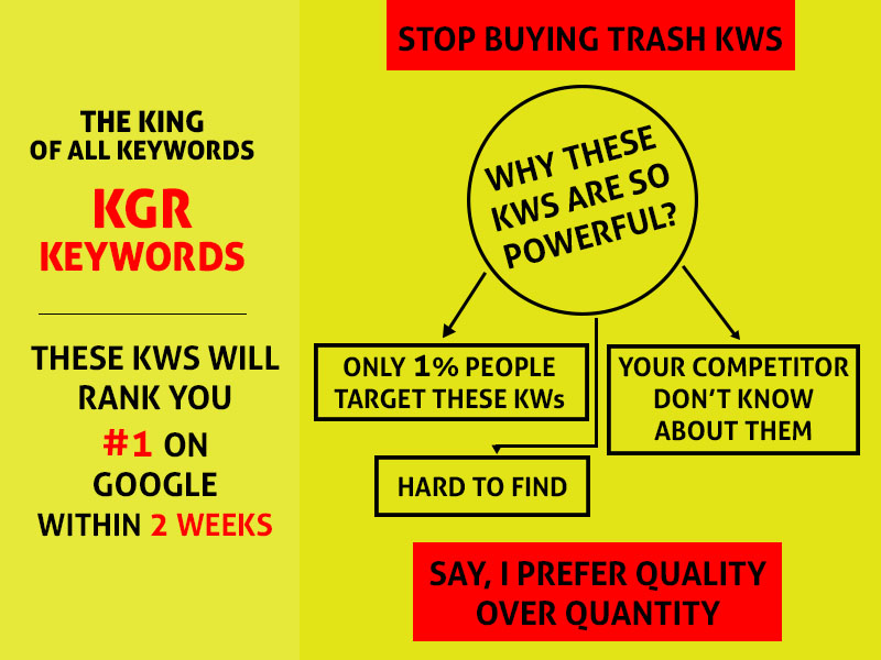 Target these KGR keywords and rank 1 within 2 weeks Guaranteed