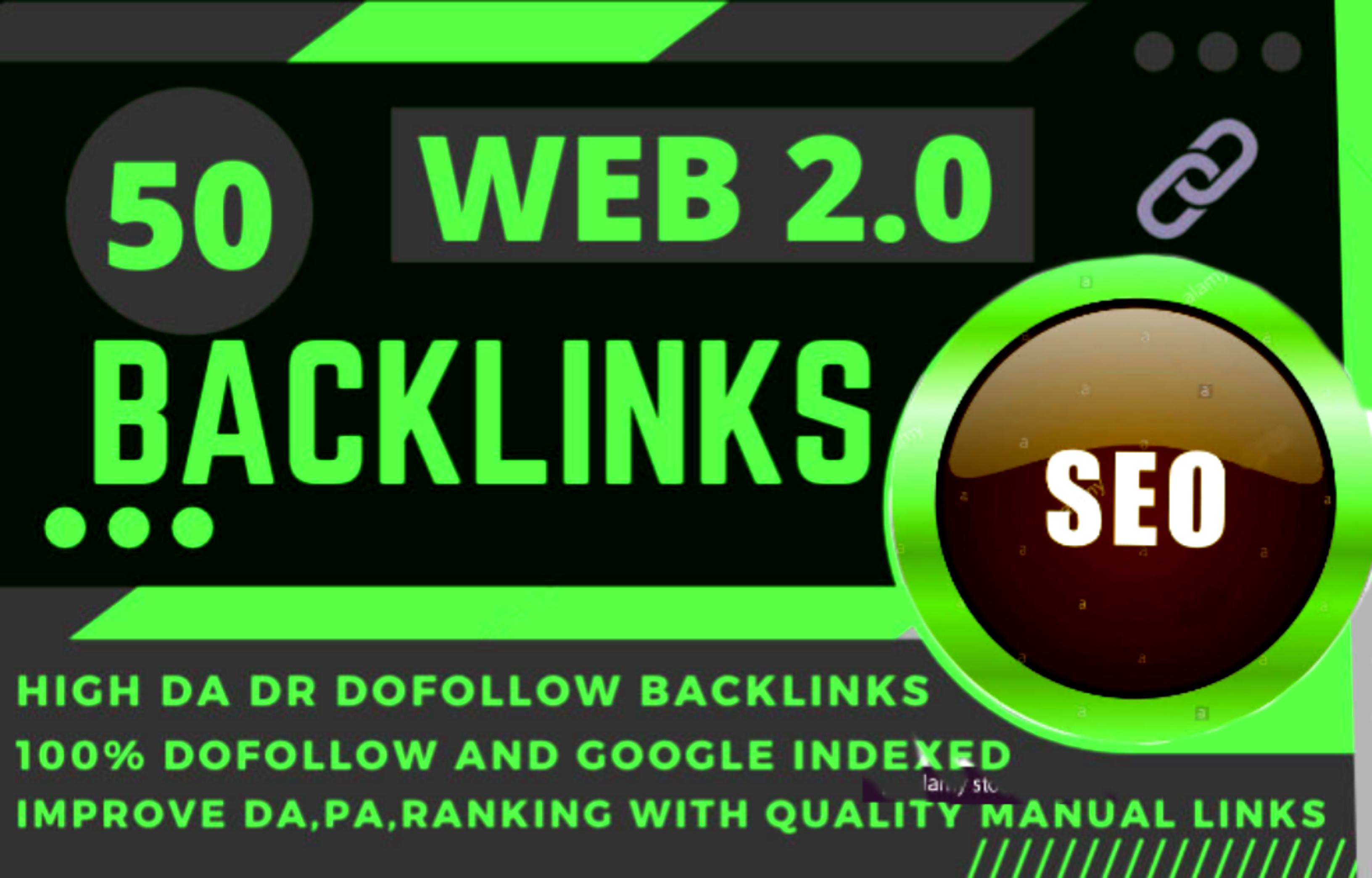 I will make you manually 50 web 2.0 with High DA permanent backlinks