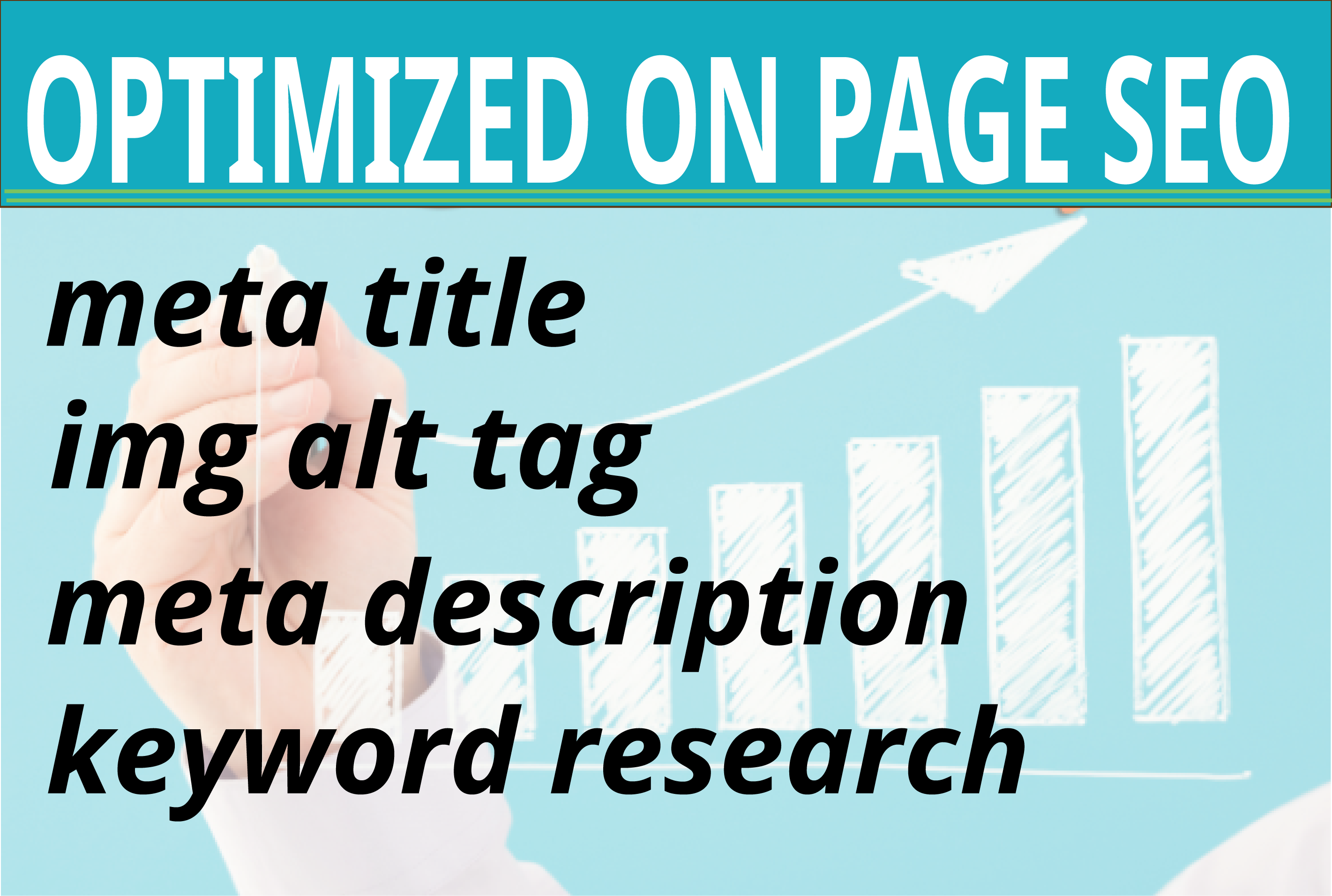 I will write meta title,  meta description and img alt tag for on page SEO