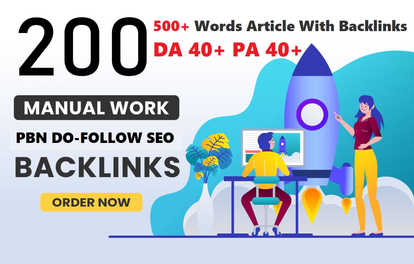 Unique 200 Sites DA 40+ PA 35+ PR 5+ Web 2.0 250 PBN Google 1st