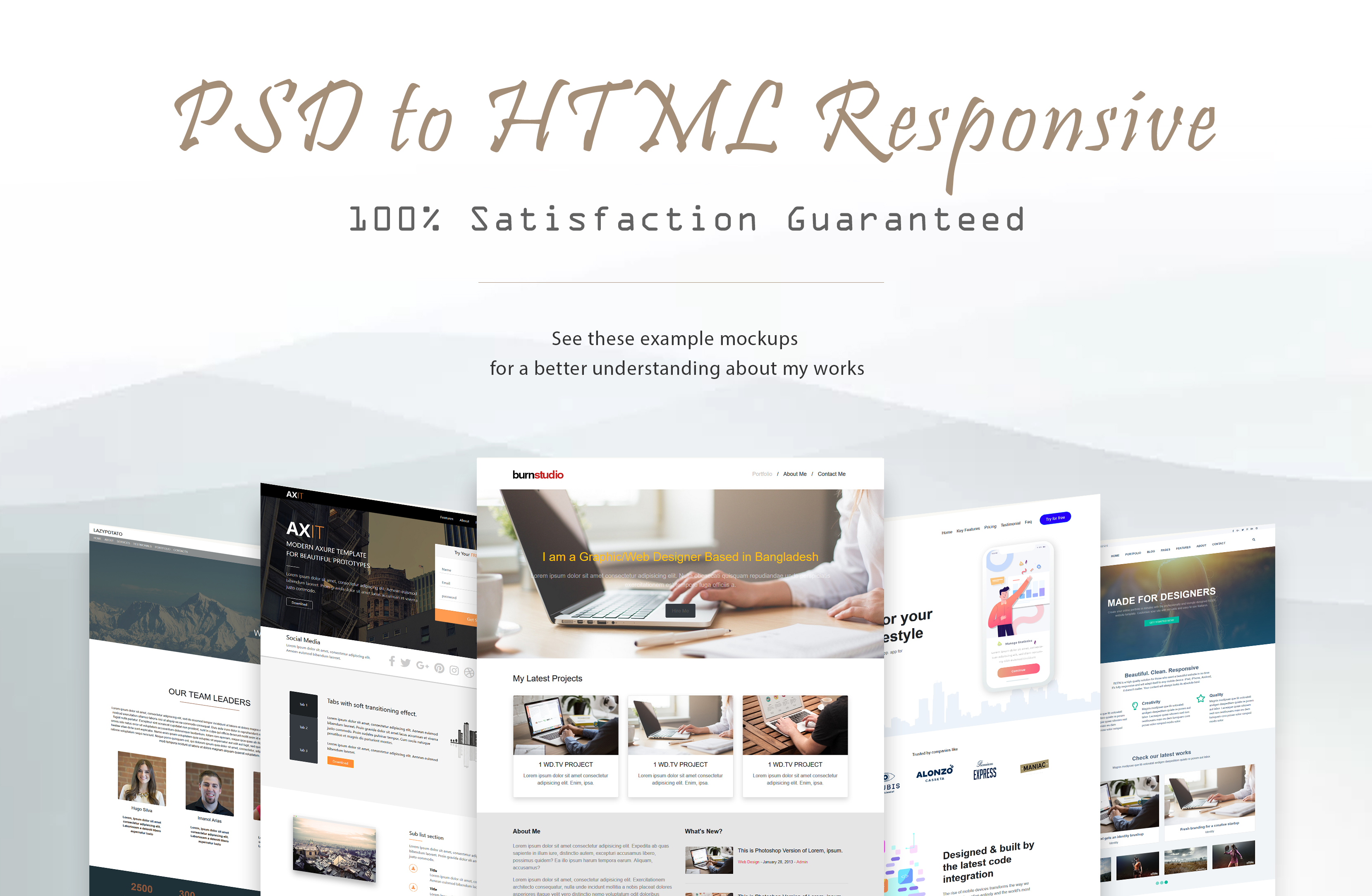 I will convert a single page PSD to HTML bootstrap responsive website