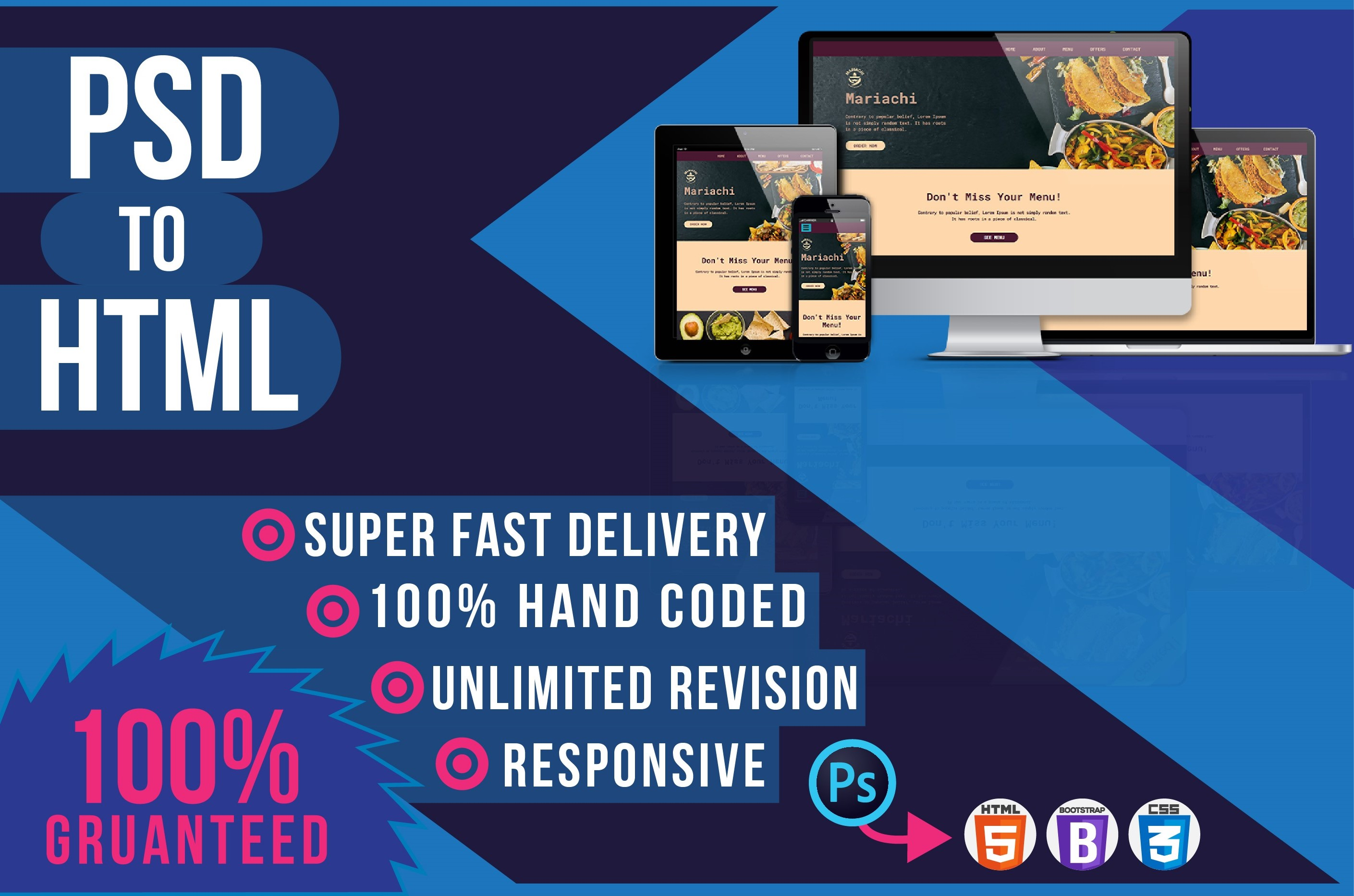 I am expert to convert PSD to HTML-CSS-Bootstrap-Responsive-Wordpress