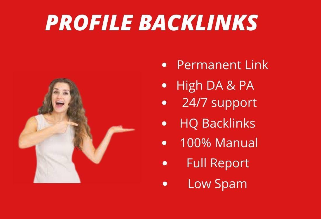 I will create 100 high DA DO-Follow profile creation backlinks in your website