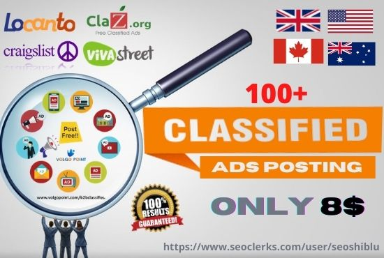 100 classified ads post on top rank classified sites in any targeted cities