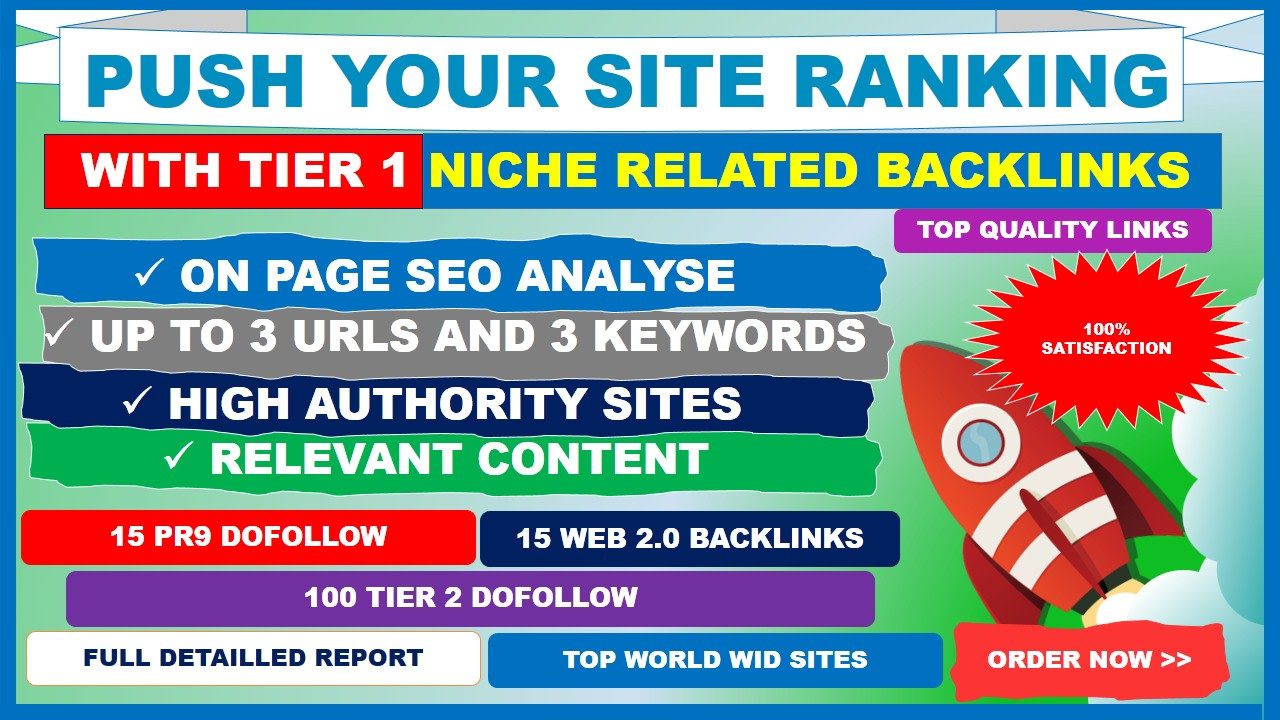 push your site ranking with tier 1 niche related backlinks