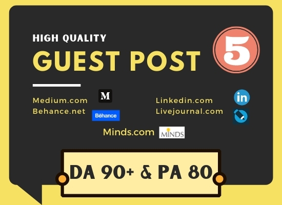 Write and Publish 5 Guest Posts service from High Domain Authority Sites