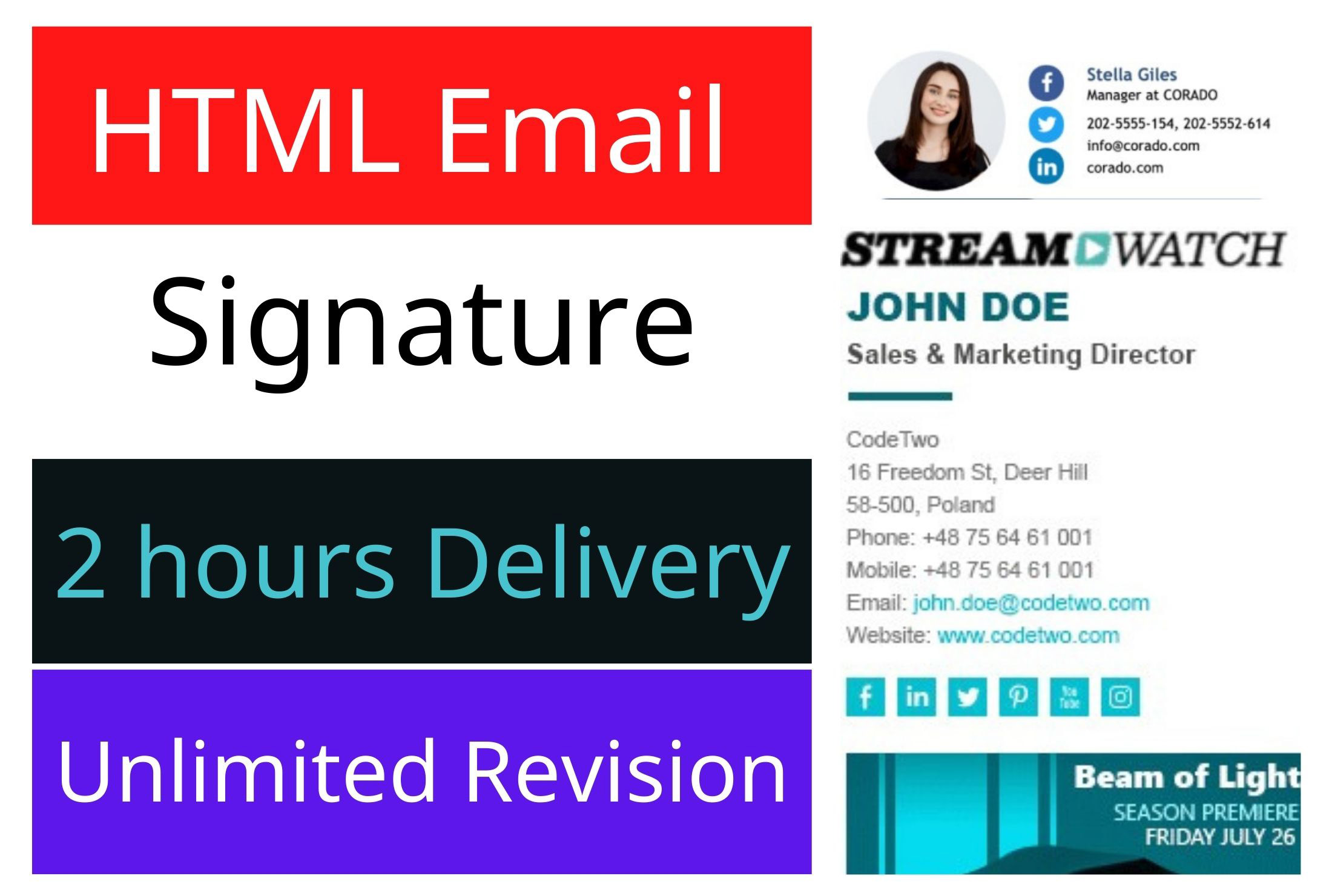 Design Professional Clickable HTML Email Signature