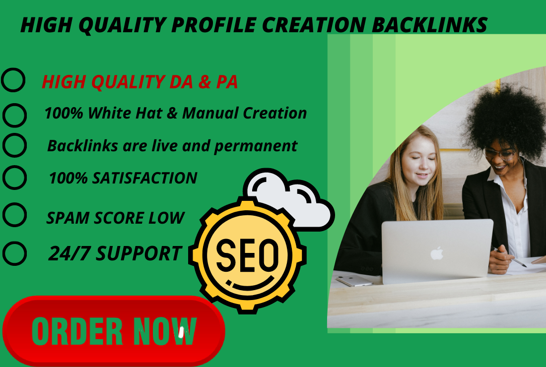 I will provide 100 High Authority profile creation backlinks.