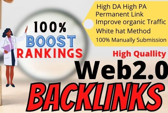 I Will do Manually Provide 20 High-Quality SEO web 2.0 Backlinks For Boost Ranking,  Link Building