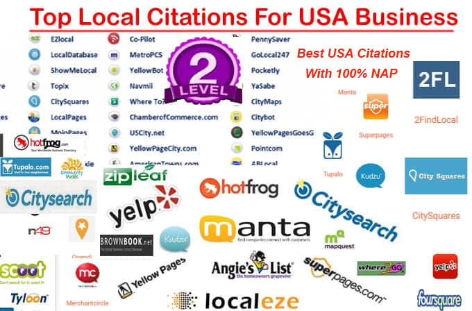 I will do Top 40 High DA 50+ live local listings for USA local business ranking