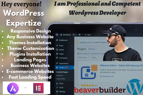 I will Design Any Business WordPress Website with Builders And Plugins