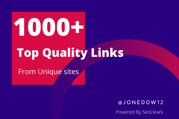 Top Quality 1000+ Links from Edu,  Gov,  Brandable domain