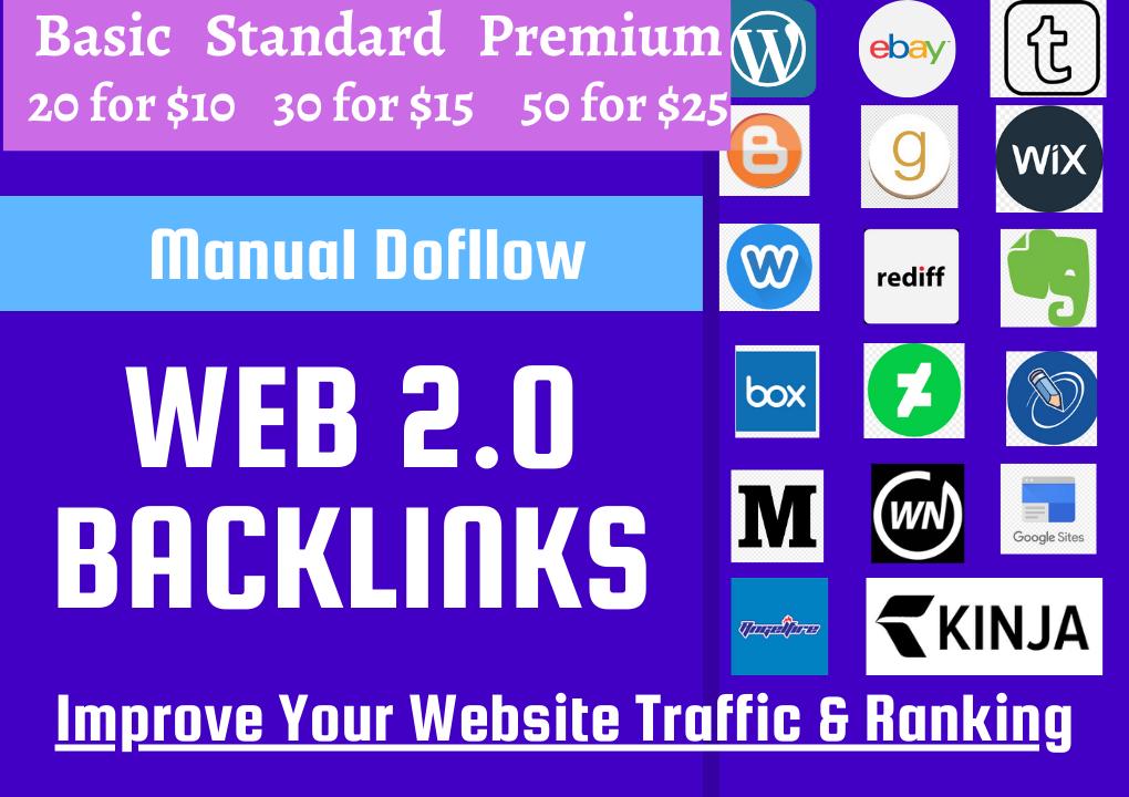 Create 20 High authority Web 2.0 Backlinks Manually