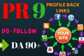 I will provide 20 pr9,  5 Edu gov,  5 wiki Backlinks and 5 DR 90+ Profile backlinks SEO service