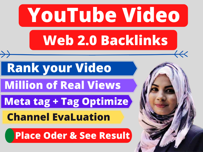 I will give you 100 Web 2.0 YouTube Video Back links for rank your video