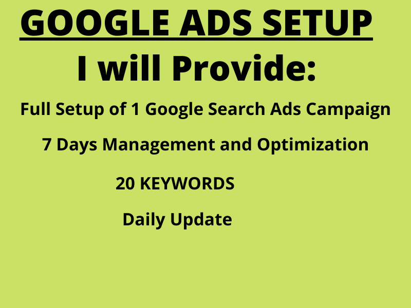 setup and optimize your Google ads campaigns