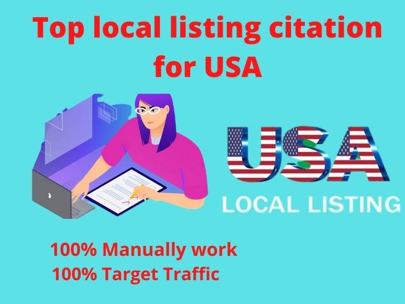 I will do top 50 local listing citations for USA