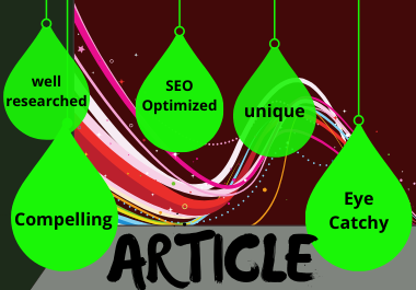 I will write high quality seo article for website and blog