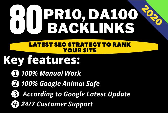 I will create 80 UNIQUE PR10 SEO Backlinks on DA100 plus Edu Links
