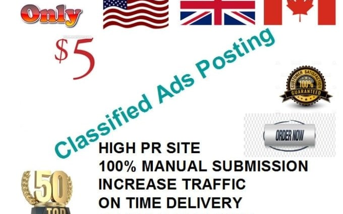 I will post your ads on 50 top rank classified ad posting sites