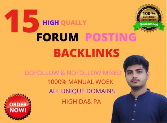 I Will make Manual 15 HQ Forum Posting Backlinks