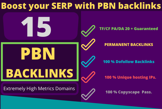 15 PBN Backlinks to boost your website ranking Fully Index-able