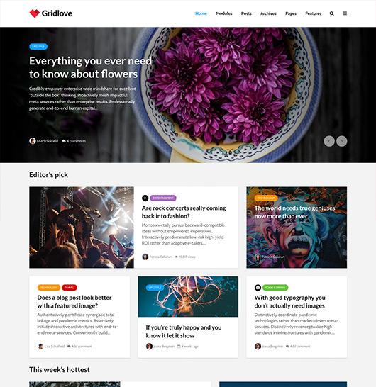 Gridlove wordpress magazine Theme latest version with free updates