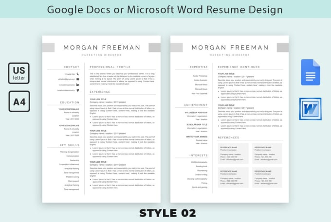 I will design your resume and cv in google docs or ms word