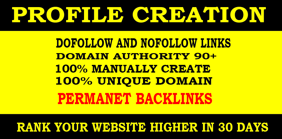 30 High DA social profiles setup or profile creations backlinks