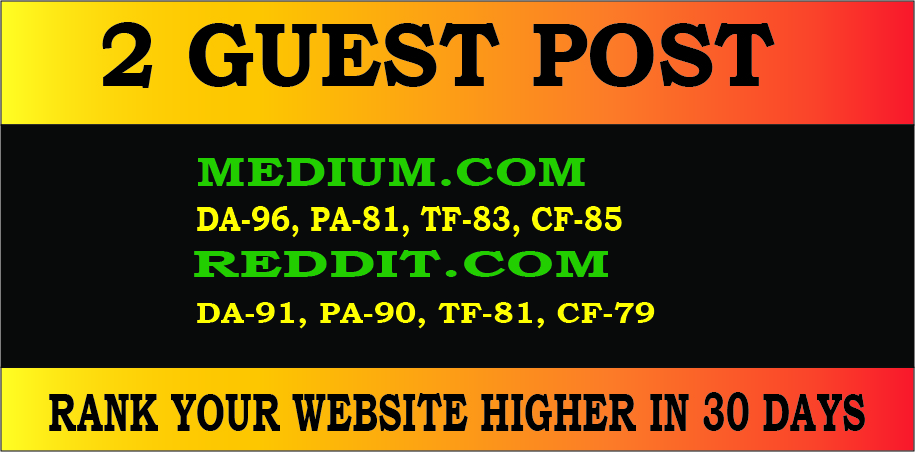 Publish 2 Guest Posts on High Quality sites