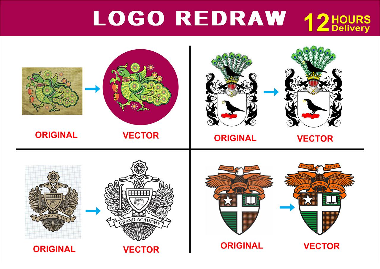 I will manually vector tracing, convert to vector, vectorise logo, redraw, recreate