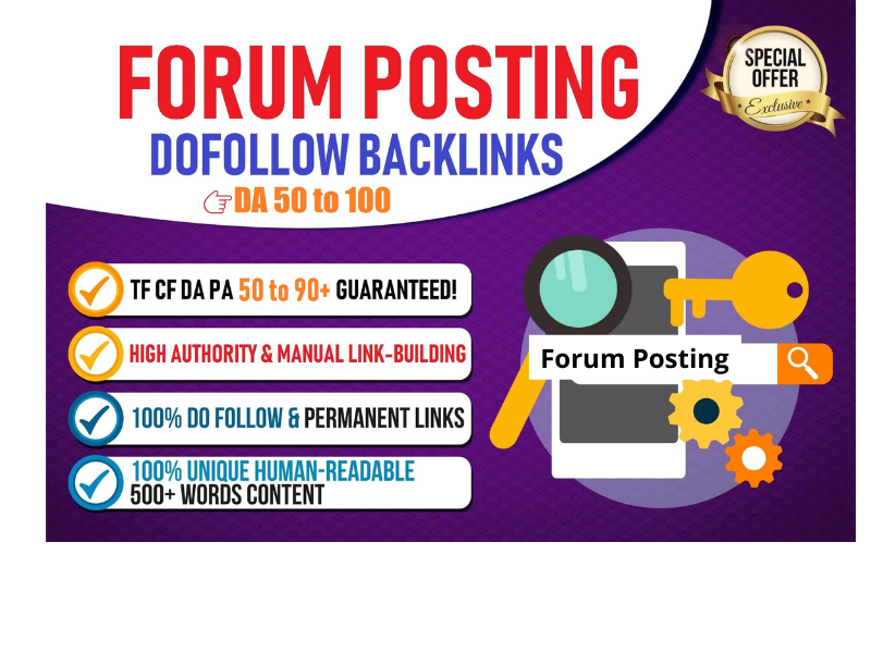 I will create 50 high dofollow forum backlinks permanent links