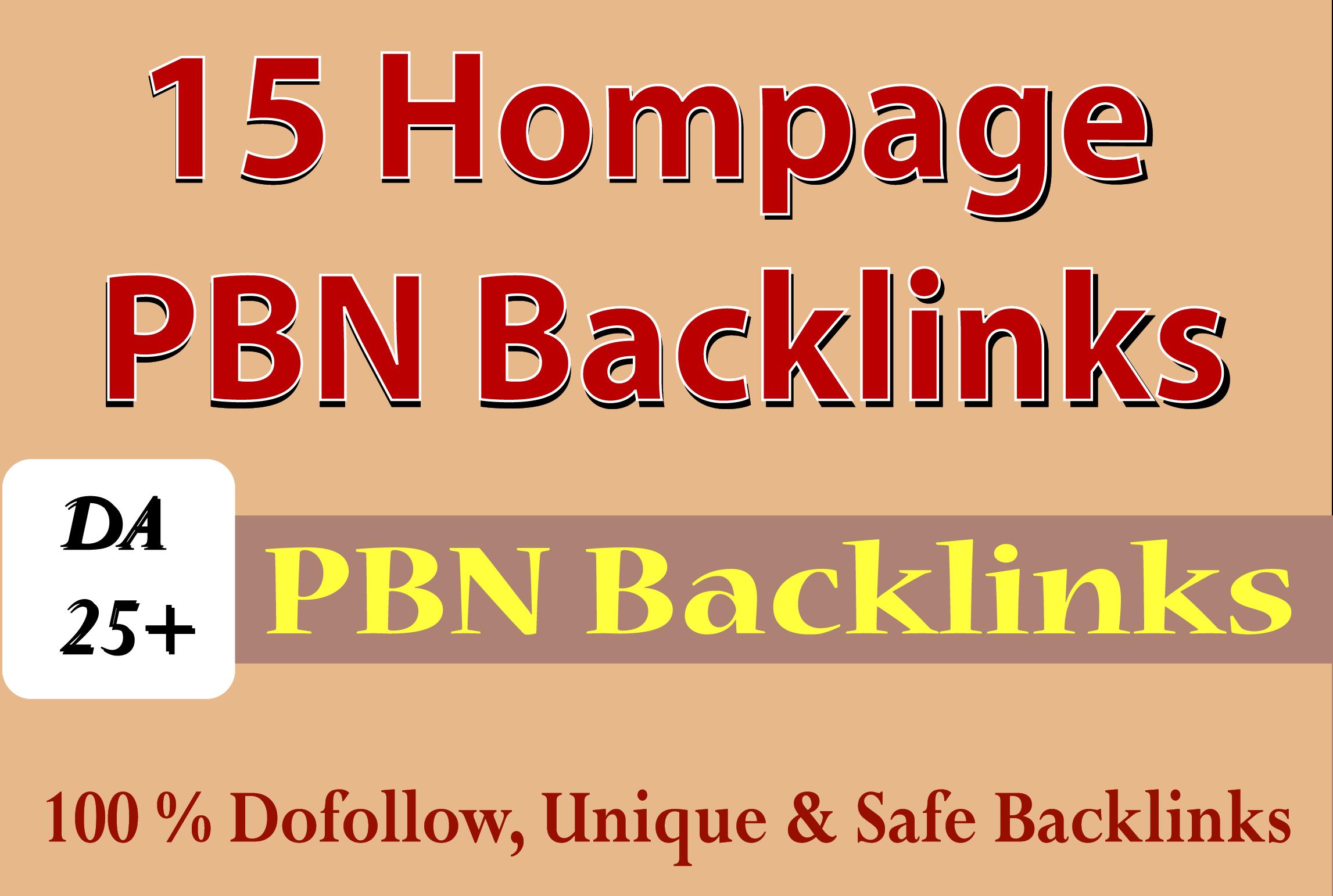Build 15 High Quality Homepage PBN Backlinks