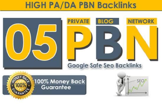 I will create 5 Unique PBN dofollow homepage DA 25-60+ parmanent backlinks