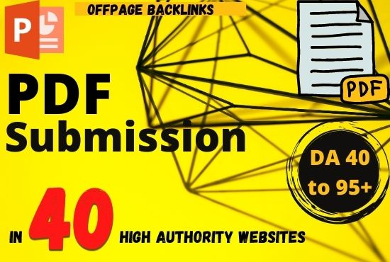 Top 40 Pdf Submission service manually for backlinks or traffic