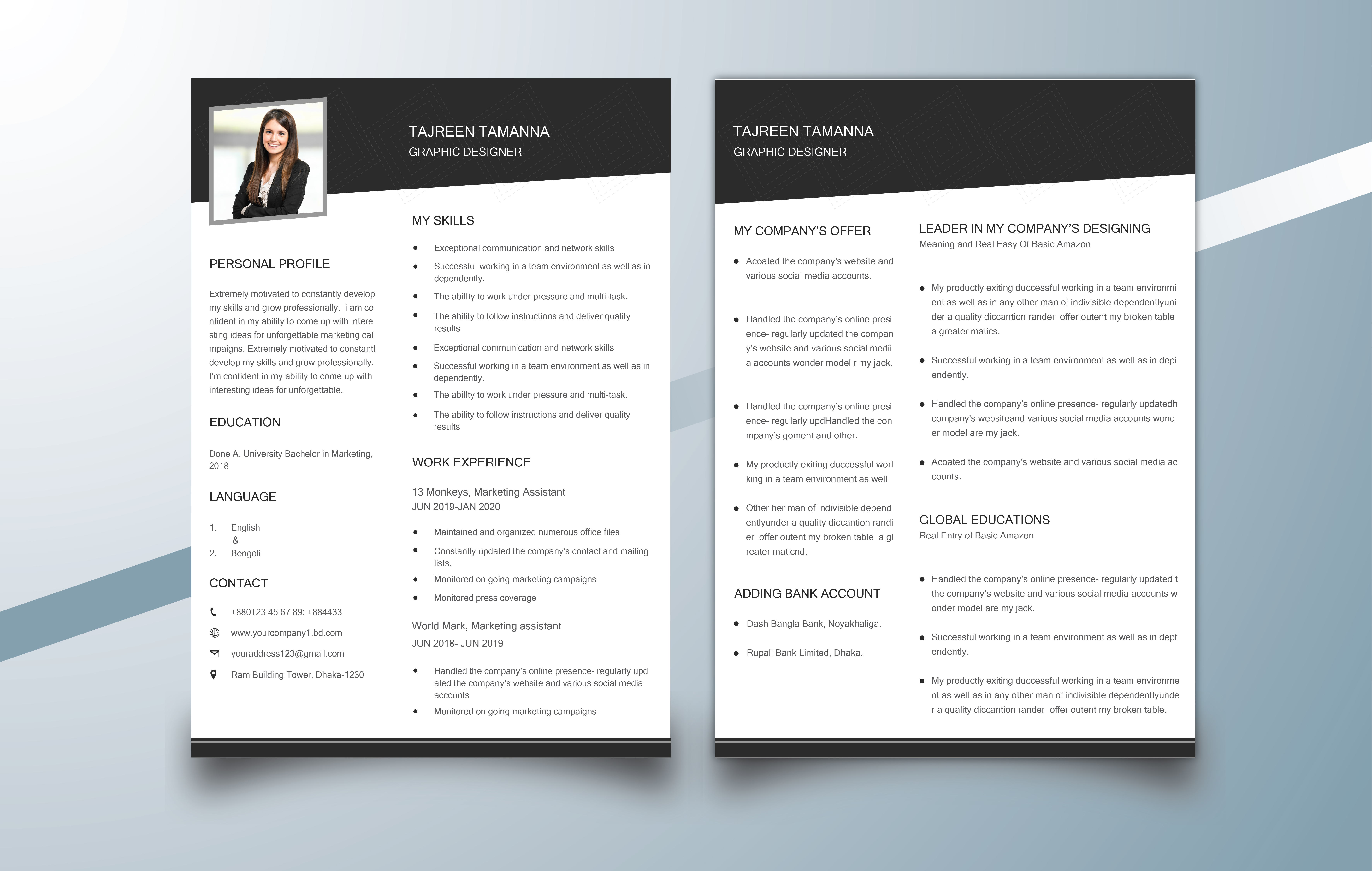 I will design a professional CV, resume and cover letter