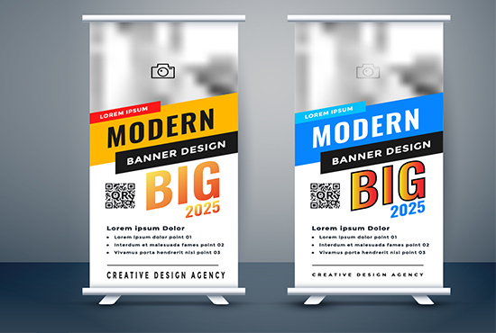 I will design your roll up banner,  facebook cover,  or youtube and social media banner
