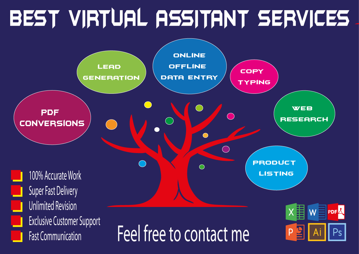 I will be your virtual assistant for data entry,  copy paste,  b2b lead generation and product listing