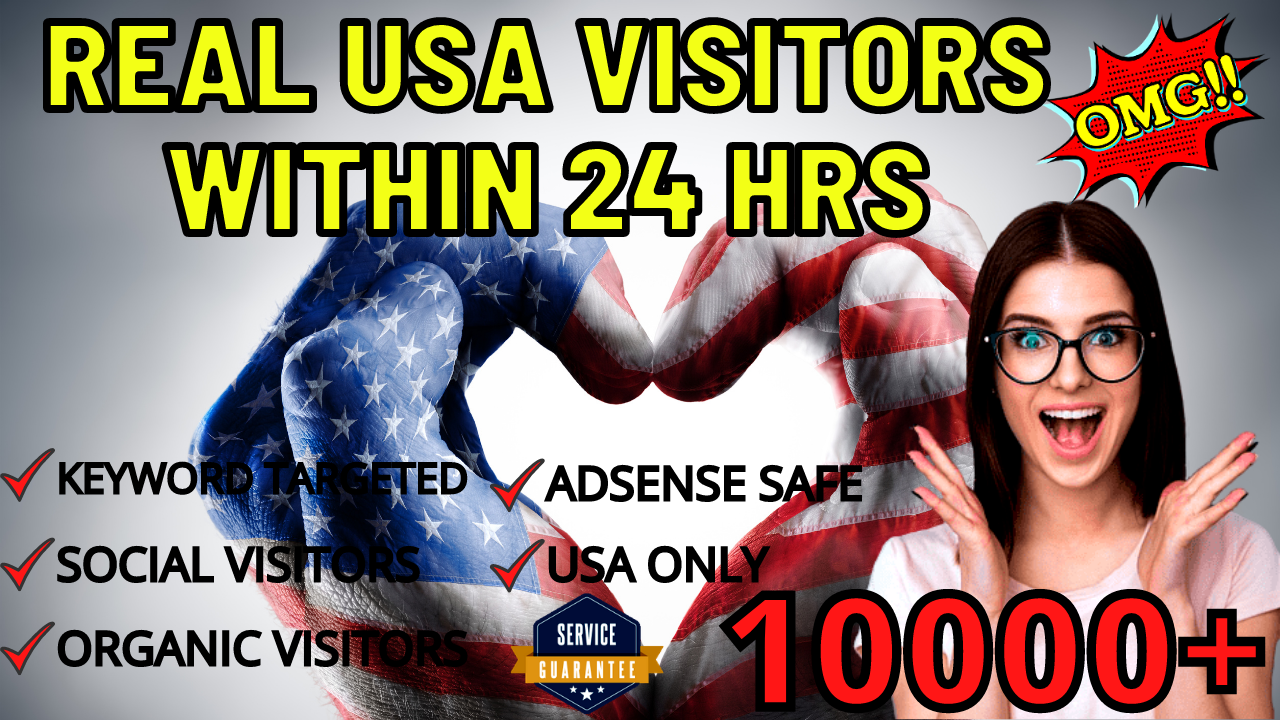 Send 10000 USA TARGETED REAL Web Traffic to your web or blog site within 1 day