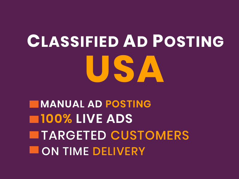 I Will Create Manually 50 Post Your Ads on top rank USA classified ad posting sites