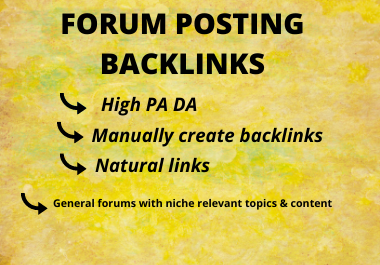 30 High quality Forum posting Backlinks