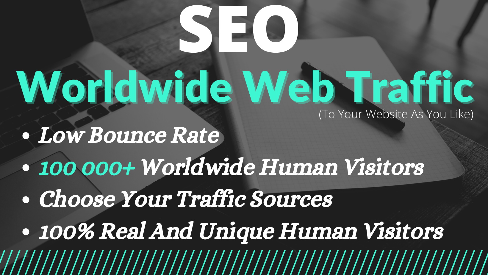 Keyword Targeted 100 Unique Human 100 000+ Organic Web Traffic Within A Month SEO