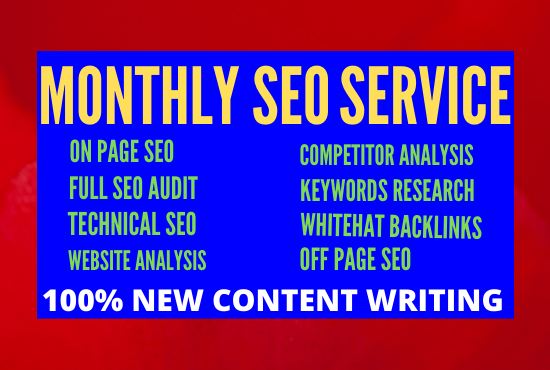 I will do monthly seo service for guaranteed google ranking in technical way
